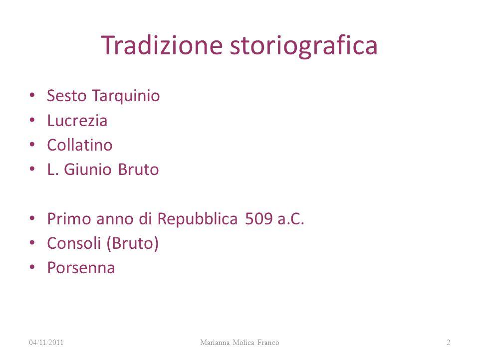 Tradizione storiografica Sesto Tarquinio Lucrezia Collatino L. Giunio Bruto Primo anno di Repubblica 509 a.C. Consoli (Bruto) Porsenna 204/11/2011Mari