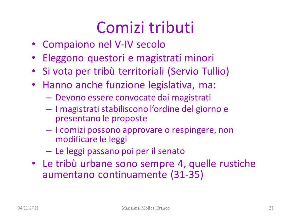 Comizi tributi Compaiono nel V-IV secolo Eleggono questori e magistrati minori Si vota per tribù territoriali (Servio Tullio) Hanno anche funzione leg