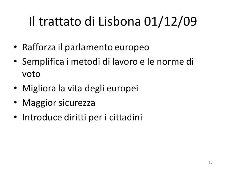 13 Il trattato di Lisbona 01/12/09 Rafforza il parlamento europeo Semplifica i metodi di lavoro e le norme di voto Migliora la vita degli europei Maggior sicurezza Introduce diritti per i cittadini