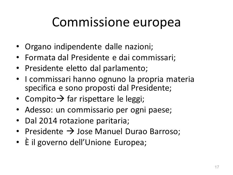 17 Commissione europea Organo indipendente dalle nazioni; Formata dal Presidente e dai commissari; Presidente eletto dal parlamento; I commissari hanno ognuno la propria materia specifica e sono proposti dal Presidente; Compito far rispettare le leggi; Adesso: un commissario per ogni paese; Dal 2014 rotazione paritaria; Presidente Jose Manuel Durao Barroso; È il governo dellUnione Europea;