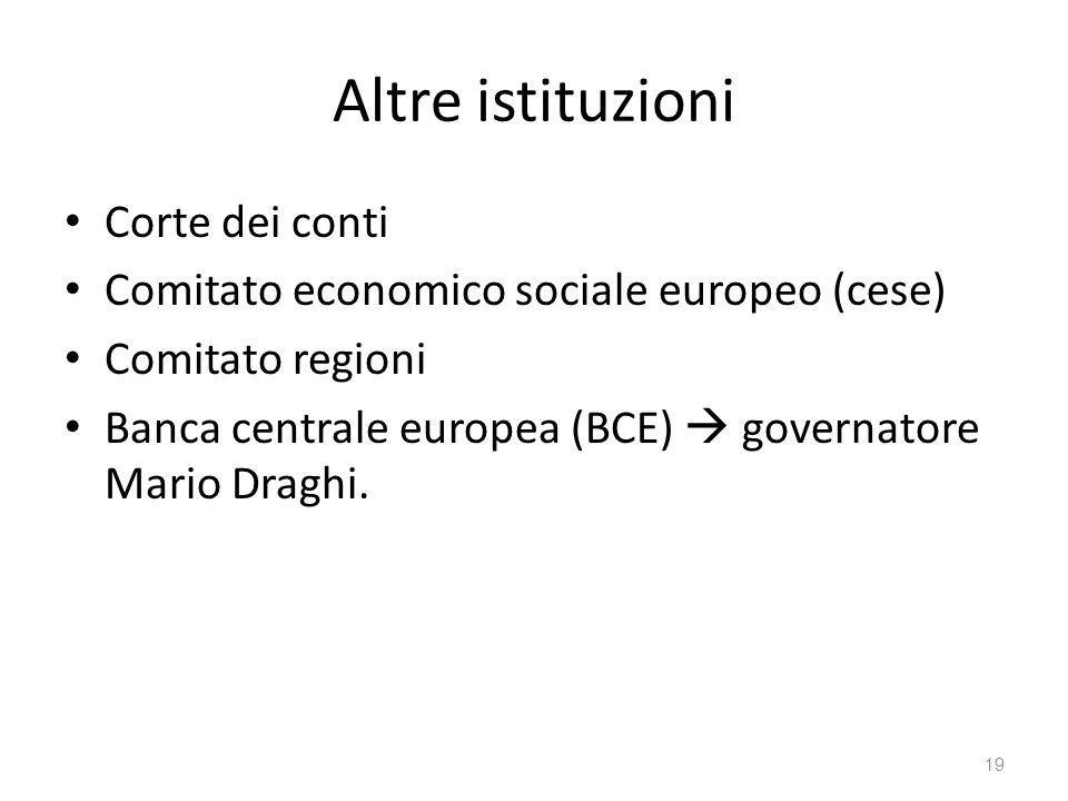 19 Altre istituzioni Corte dei conti Comitato economico sociale europeo (cese) Comitato regioni Banca centrale europea (BCE) governatore Mario Draghi.