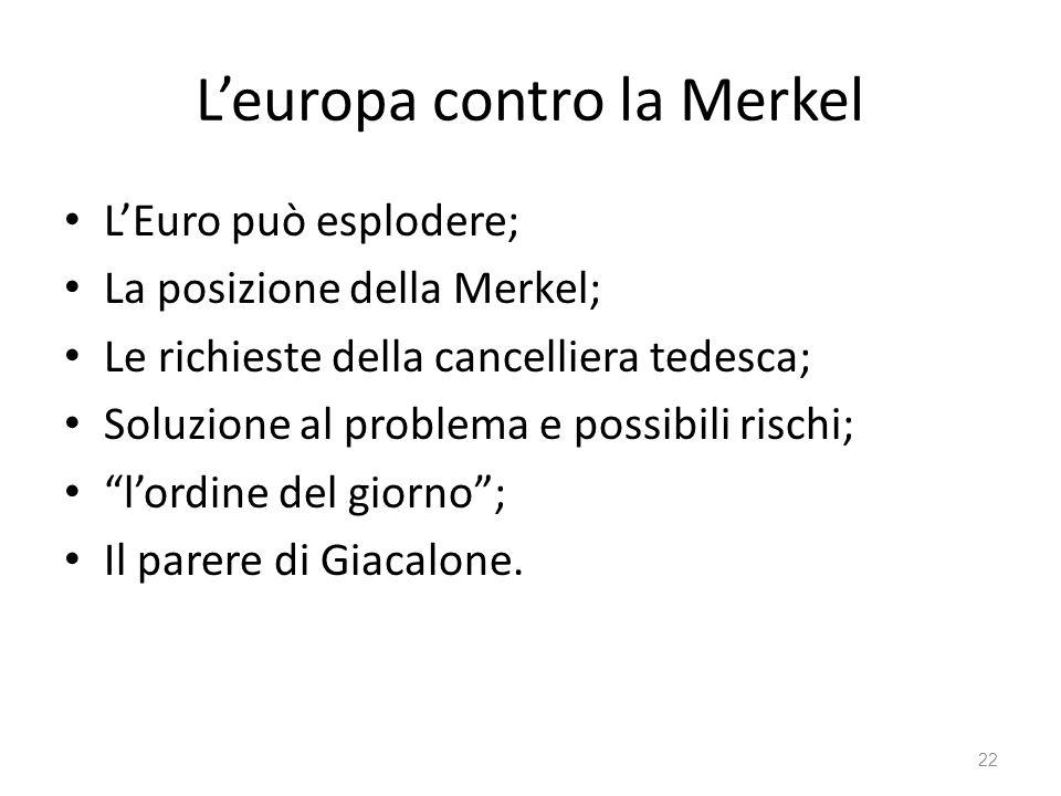 22 Leuropa contro la Merkel LEuro può esplodere; La posizione della Merkel; Le richieste della cancelliera tedesca; Soluzione al problema e possibili rischi; lordine del giorno; Il parere di Giacalone.