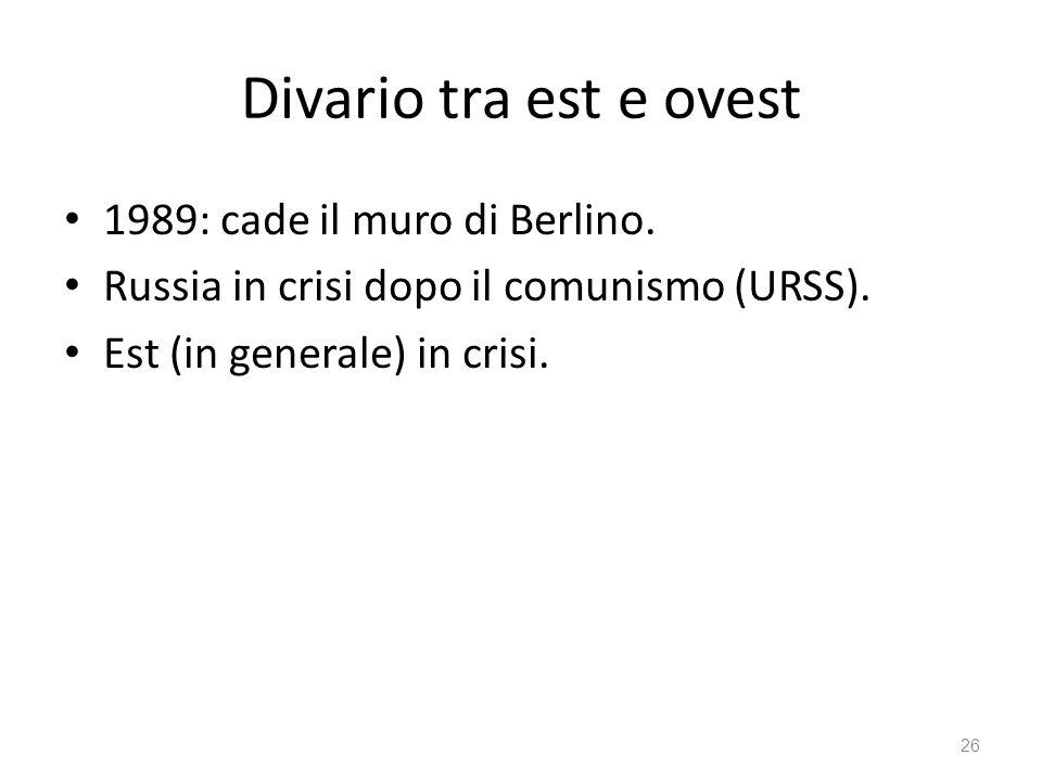 26 Divario tra est e ovest 1989: cade il muro di Berlino.