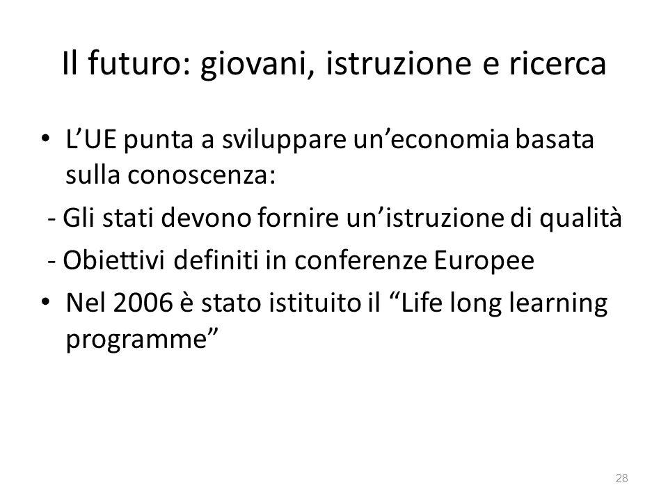28 Il futuro: giovani, istruzione e ricerca LUE punta a sviluppare uneconomia basata sulla conoscenza: - Gli stati devono fornire unistruzione di qualità - Obiettivi definiti in conferenze Europee Nel 2006 è stato istituito il Life long learning programme