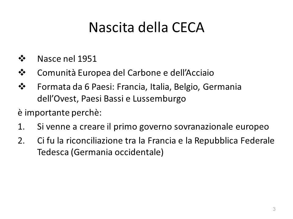 4 Trattati di Roma Siglati in Campidoglio nel marzo 1957 6 Paesi rappresentanti della CECA Istituirono la Comunità europea per lenergia atomica (lEuratom) Realizzano la CEE (Comunità Economica Europea) Unione doganale Fondo Sociale Europeo Banca Europea degli Investimenti
