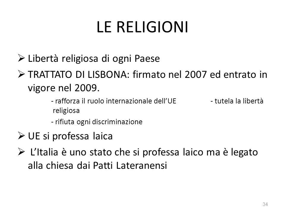 34 LE RELIGIONI Libertà religiosa di ogni Paese TRATTATO DI LISBONA: firmato nel 2007 ed entrato in vigore nel 2009.
