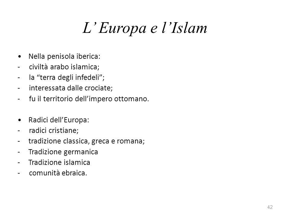 42 L Europa e lIslam Nella penisola iberica: - civiltà arabo islamica; - la terra degli infedeli; - interessata dalle crociate; - fu il territorio dellimpero ottomano.