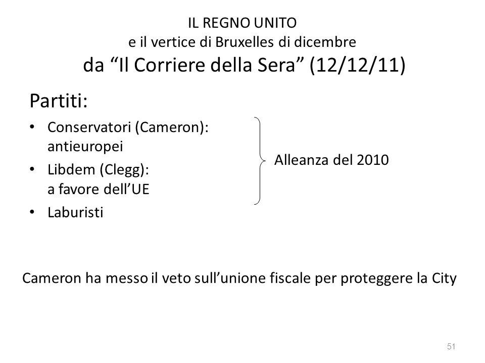 51 IL REGNO UNITO e il vertice di Bruxelles di dicembre da Il Corriere della Sera (12/12/11) Partiti: Conservatori (Cameron): antieuropei Libdem (Clegg): a favore dellUE Laburisti Alleanza del 2010 Cameron ha messo il veto sullunione fiscale per proteggere la City