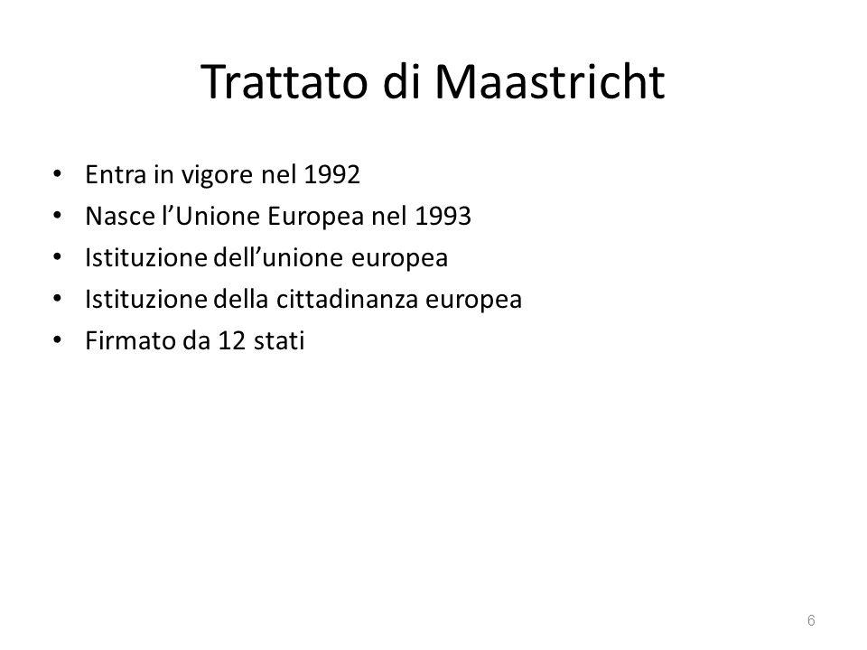 6 Trattato di Maastricht Entra in vigore nel 1992 Nasce lUnione Europea nel 1993 Istituzione dellunione europea Istituzione della cittadinanza europea Firmato da 12 stati