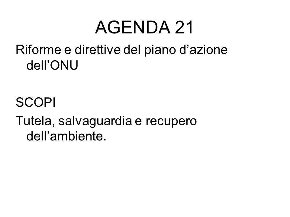AGENDA 21 Riforme e direttive del piano dazione dellONU SCOPI Tutela, salvaguardia e recupero dellambiente.