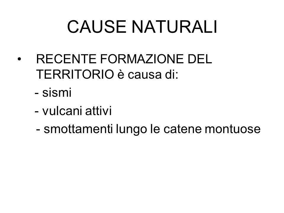 CAUSE NATURALI RECENTE FORMAZIONE DEL TERRITORIO è causa di: - sismi - vulcani attivi - smottamenti lungo le catene montuose