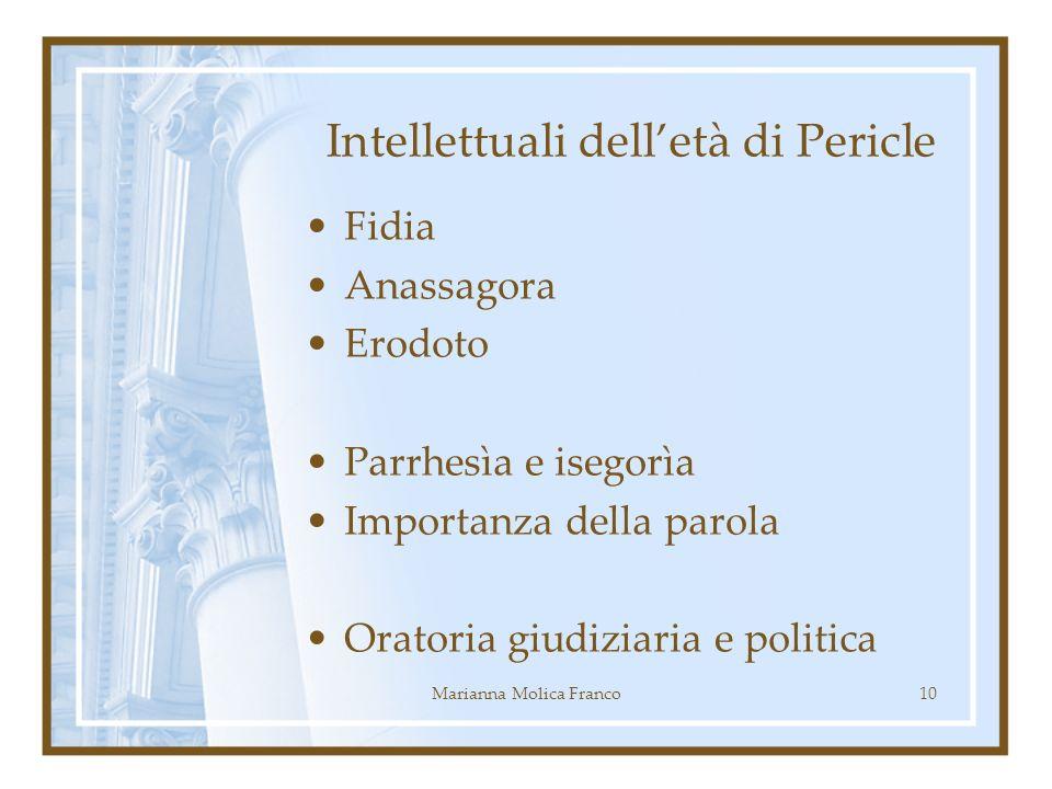 Intellettuali delletà di Pericle Fidia Anassagora Erodoto Parrhesìa e isegorìa Importanza della parola Oratoria giudiziaria e politica 10Marianna Molica Franco