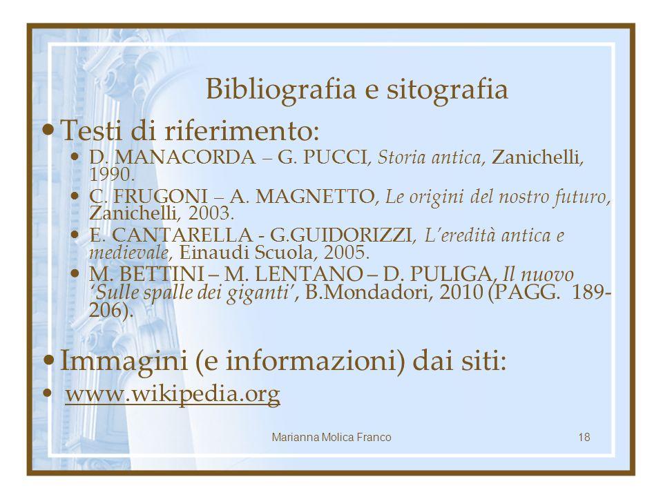 Bibliografia e sitografia Testi di riferimento: D.