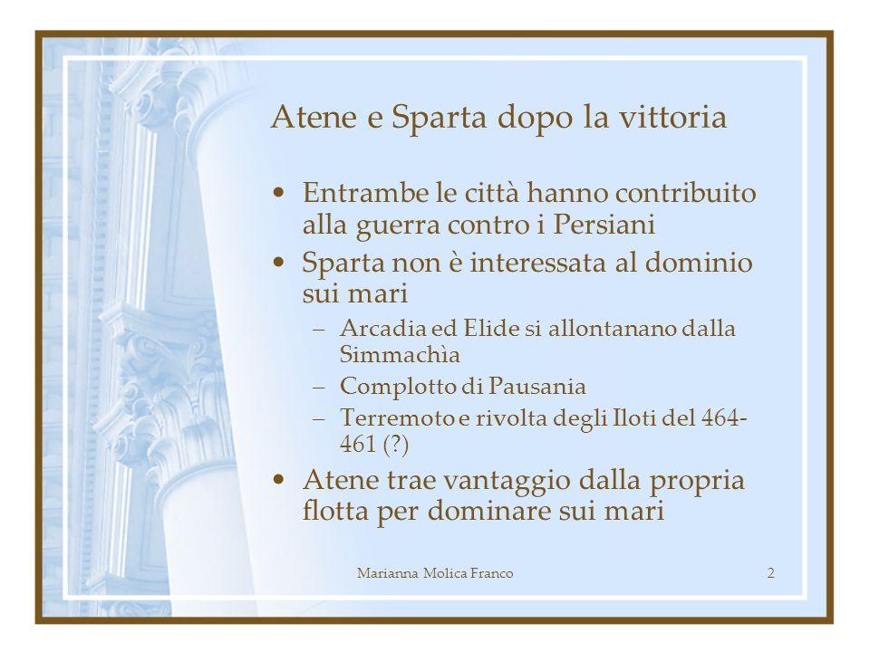 Atene e Sparta dopo la vittoria Entrambe le città hanno contribuito alla guerra contro i Persiani Sparta non è interessata al dominio sui mari –Arcadi
