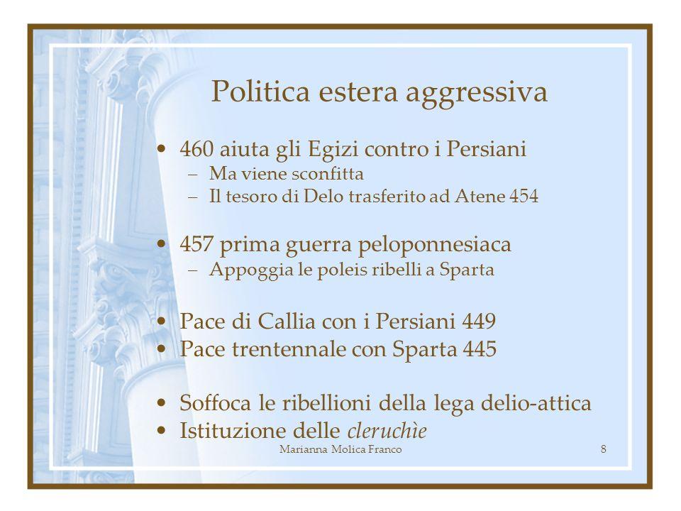 Politica estera aggressiva 460 aiuta gli Egizi contro i Persiani –Ma viene sconfitta –Il tesoro di Delo trasferito ad Atene 454 457 prima guerra pelop