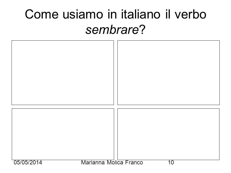 05/05/2014Marianna Molica Franco10 Come usiamo in italiano il verbo sembrare?