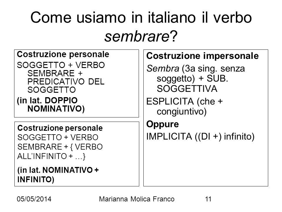 05/05/2014Marianna Molica Franco11 Come usiamo in italiano il verbo sembrare? Costruzione personale SOGGETTO + VERBO SEMBRARE + PREDICATIVO DEL SOGGET