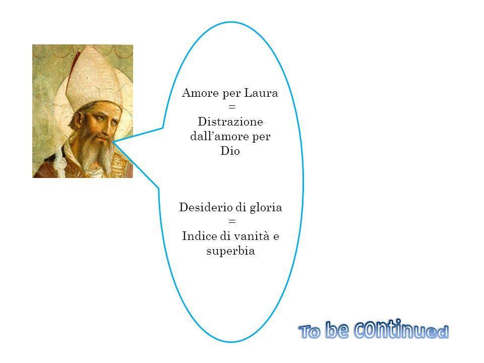 Amore per Laura = Distrazione dallamore per Dio Desiderio di gloria = Indice di vanità e superbia