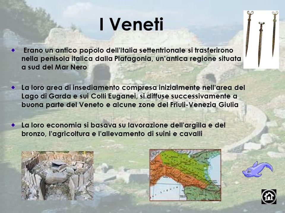 I Veneti Erano un antico popolo dell'Italia settentrionale si trasferirono nella penisola italica dalla Plafagonia, unantica regione situata a sud del