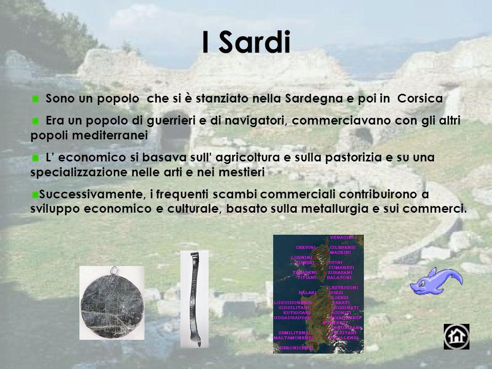 I Sardi Sono un popolo che si è stanziato nella Sardegna e poi in Corsica Era un popolo di guerrieri e di navigatori, commerciavano con gli altri popo