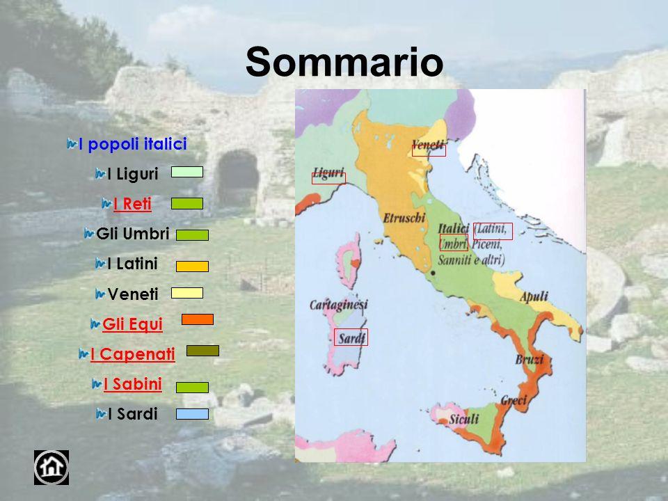 Sommario I popoli italici I Liguri I Reti Gli Umbri I Latini Veneti Gli Equi I Capenati I Sabini I Sardi
