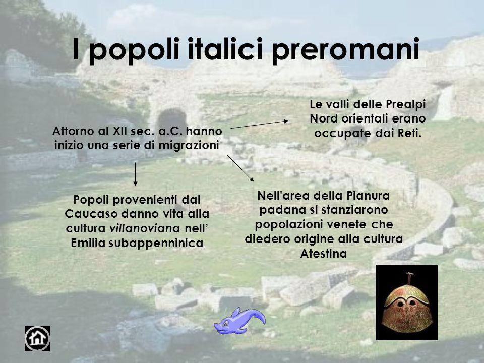 I popoli italici preromani Attorno al XII sec. a.C. hanno inizio una serie di migrazioni Popoli provenienti dal Caucaso danno vita alla cultura villan