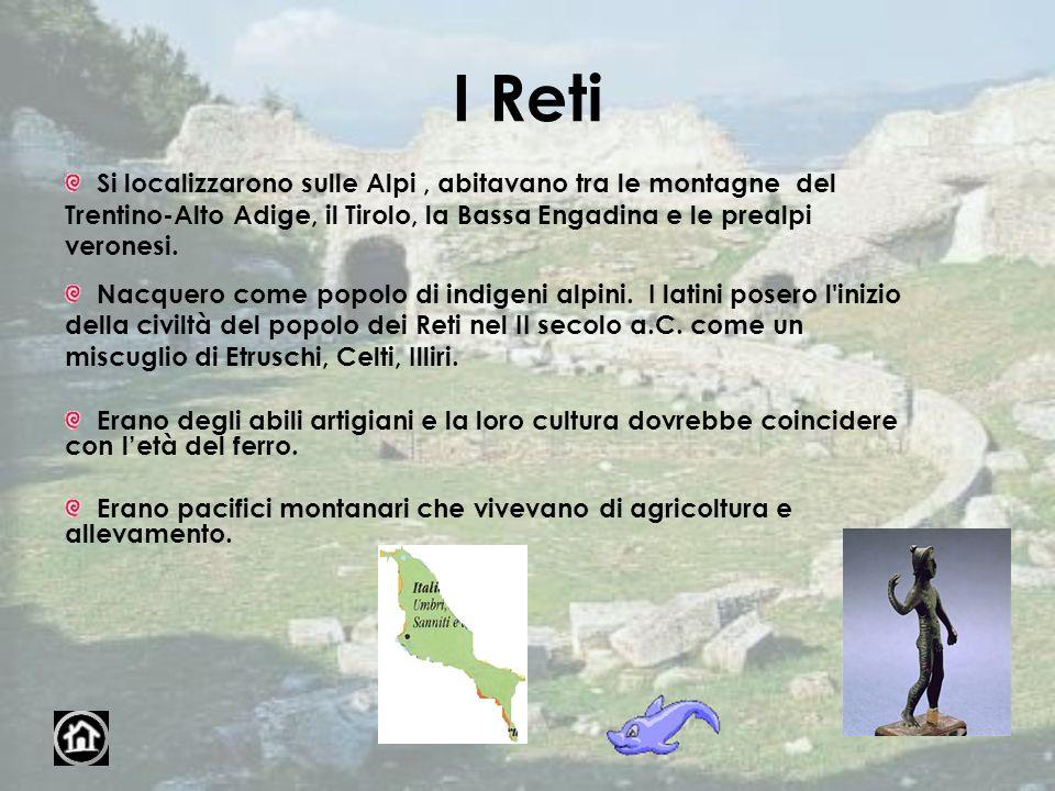 I Reti Si localizzarono sulle Alpi, abitavano tra le montagne del Trentino-Alto Adige, il Tirolo, la Bassa Engadina e le prealpi veronesi. Nacquero co