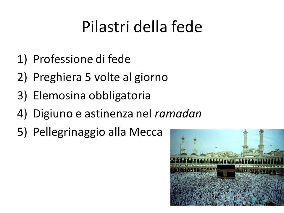 Pilastri della fede 1)Professione di fede 2)Preghiera 5 volte al giorno 3)Elemosina obbligatoria 4)Digiuno e astinenza nel ramadan 5)Pellegrinaggio alla Mecca