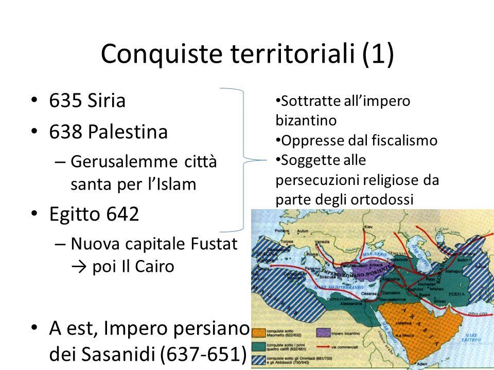 Conquiste territoriali (1) 635 Siria 638 Palestina – Gerusalemme città santa per lIslam Egitto 642 – Nuova capitale Fustat poi Il Cairo A est, Impero persiano dei Sasanidi (637-651) Sottratte allimpero bizantino Oppresse dal fiscalismo Soggette alle persecuzioni religiose da parte degli ortodossi