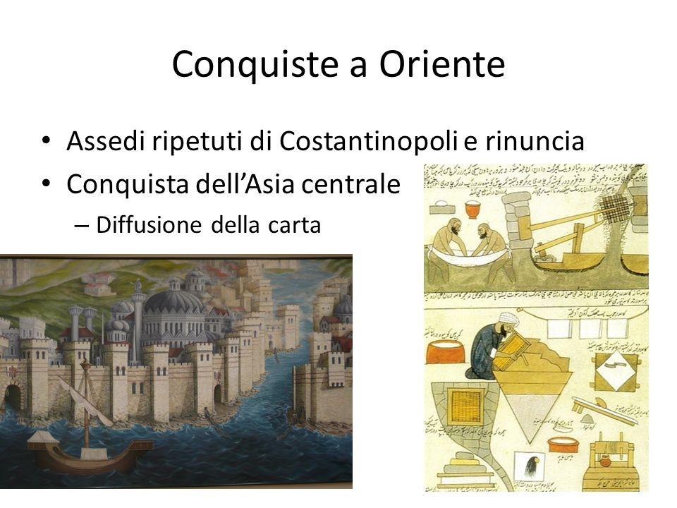 Conquiste a Oriente Assedi ripetuti di Costantinopoli e rinuncia Conquista dellAsia centrale – Diffusione della carta