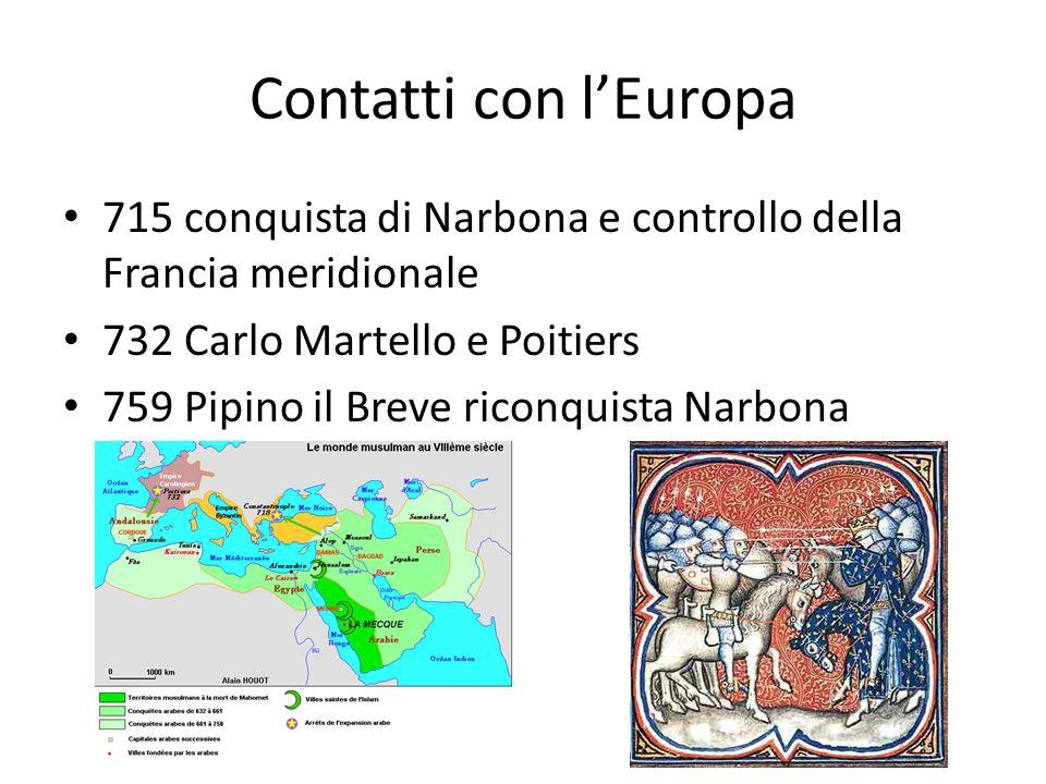 Contatti con lEuropa 715 conquista di Narbona e controllo della Francia meridionale 732 Carlo Martello e Poitiers 759 Pipino il Breve riconquista Narbona