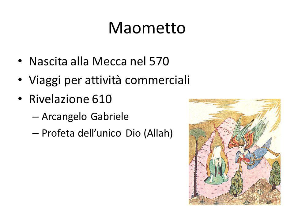 Maometto Nascita alla Mecca nel 570 Viaggi per attività commerciali Rivelazione 610 – Arcangelo Gabriele – Profeta dellunico Dio (Allah)