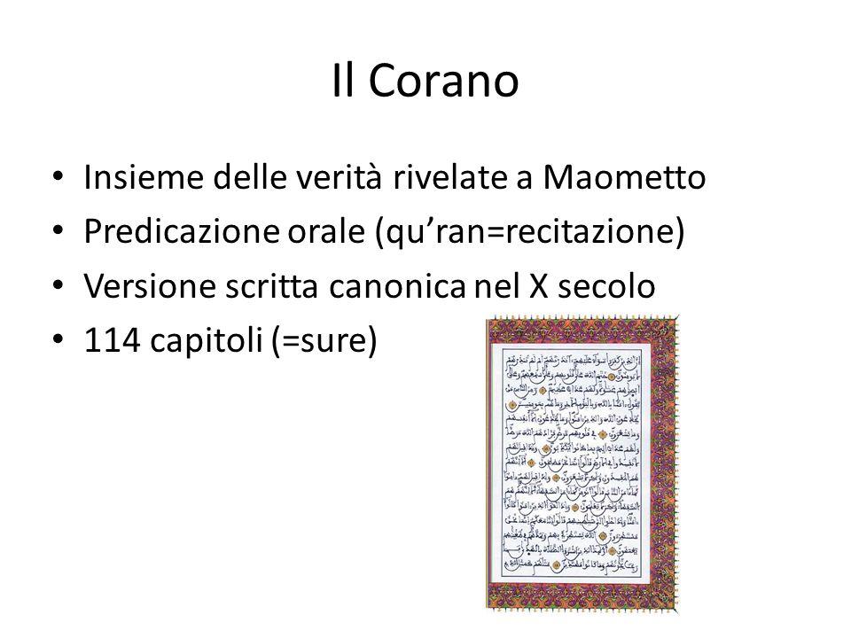 Il Corano Insieme delle verità rivelate a Maometto Predicazione orale (quran=recitazione) Versione scritta canonica nel X secolo 114 capitoli (=sure)