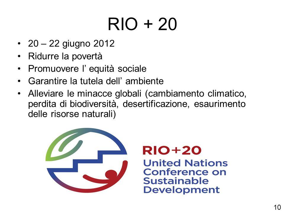 RIO + 20 20 – 22 giugno 2012 Ridurre la povertà Promuovere l equità sociale Garantire la tutela dell ambiente Alleviare le minacce globali (cambiament
