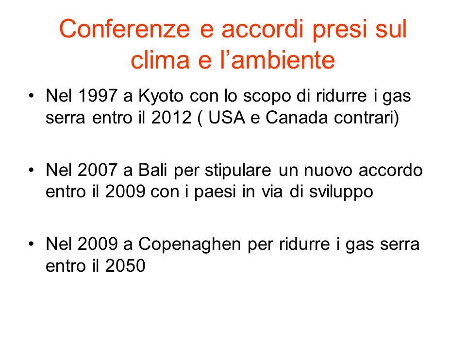 Conferenze e accordi presi sul clima e lambiente Nel 1997 a Kyoto con lo scopo di ridurre i gas serra entro il 2012 ( USA e Canada contrari) Nel 2007