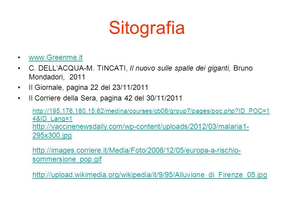 Sitografia www.Greenme.it C. DELLACQUA-M. TINCATI, Il nuovo sulle spalle dei giganti, Bruno Mondadori, 2011 Il Giornale, pagina 22 del 23/11/2011 Il C