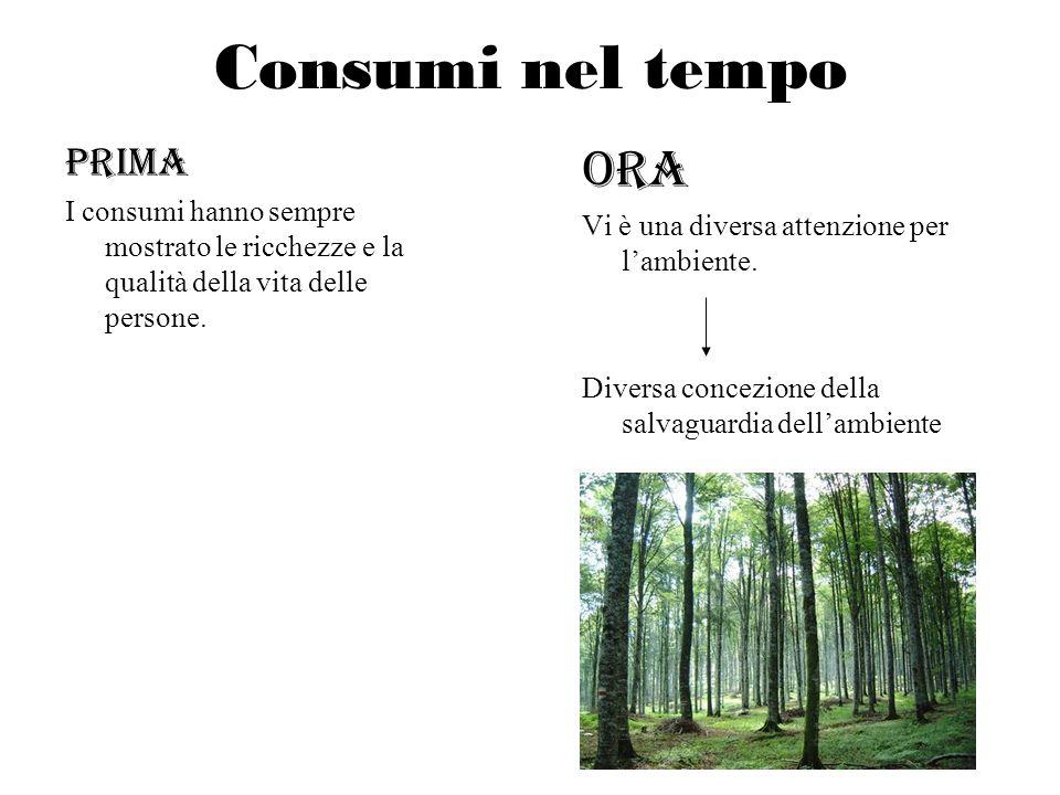 Consumi nel tempo PRIMA I consumi hanno sempre mostrato le ricchezze e la qualità della vita delle persone. Ora Vi è una diversa attenzione per lambie