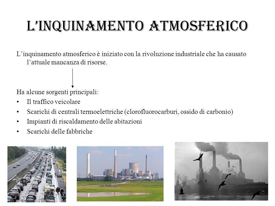 Linquinamento atmosferico Linquinamento atmosferico è iniziato con la rivoluzione industriale che ha causato lattuale mancanza di risorse. Ha alcune s