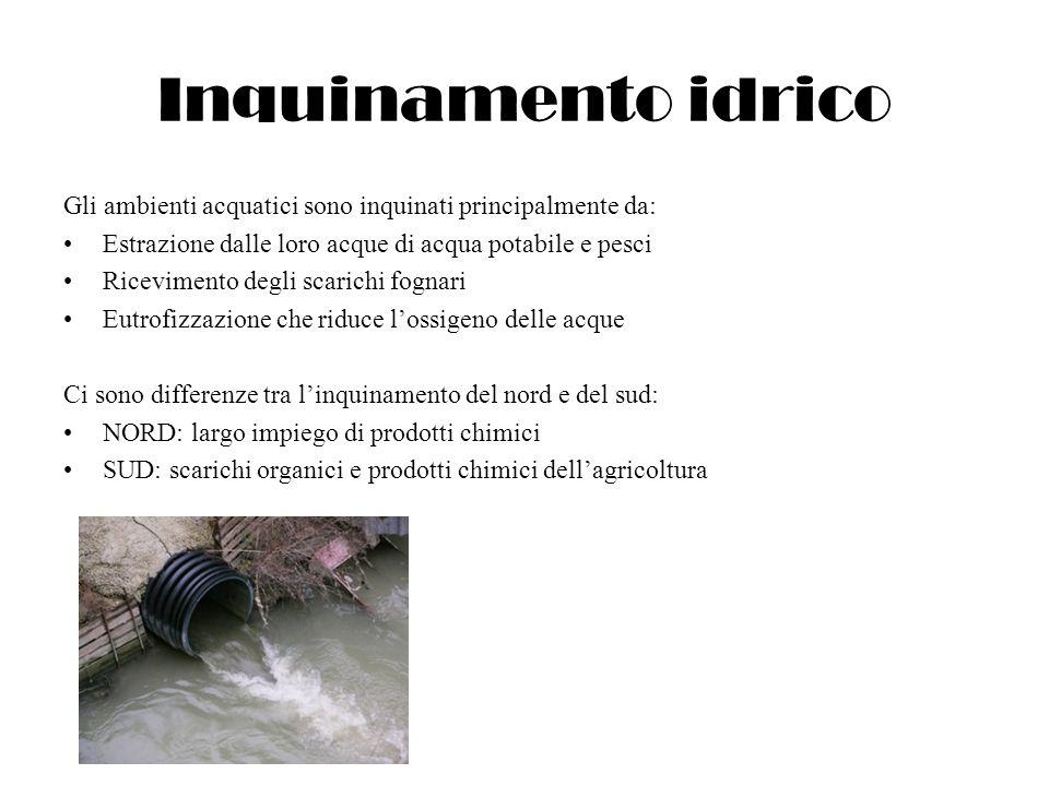 Inquinamento idrico Gli ambienti acquatici sono inquinati principalmente da: Estrazione dalle loro acque di acqua potabile e pesci Ricevimento degli s
