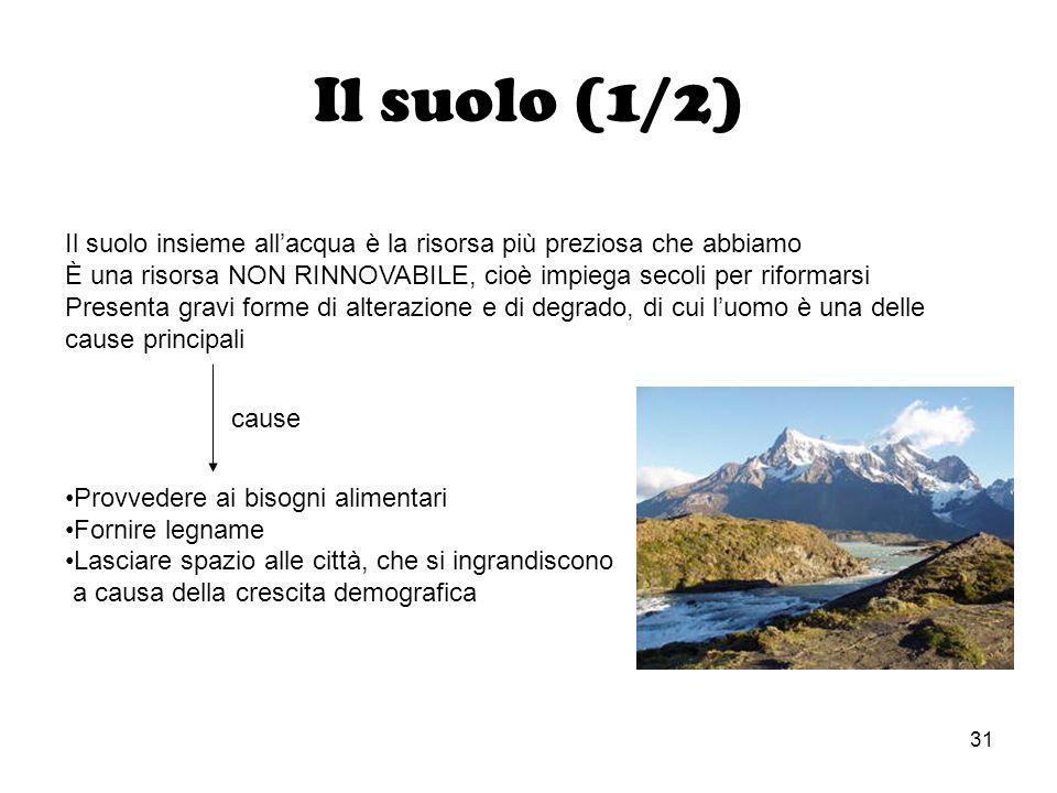 31 Il suolo (1/2) Il suolo insieme allacqua è la risorsa più preziosa che abbiamo È una risorsa NON RINNOVABILE, cioè impiega secoli per riformarsi Pr