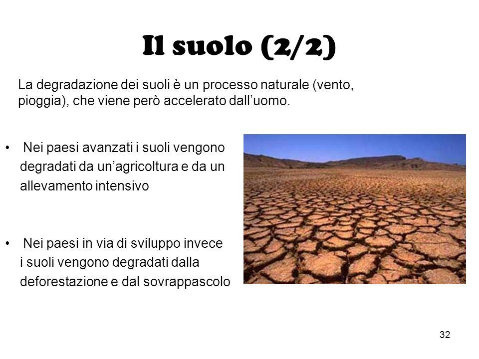 32 Il suolo (2/2) Nei paesi avanzati i suoli vengono degradati da unagricoltura e da un allevamento intensivo Nei paesi in via di sviluppo invece i su