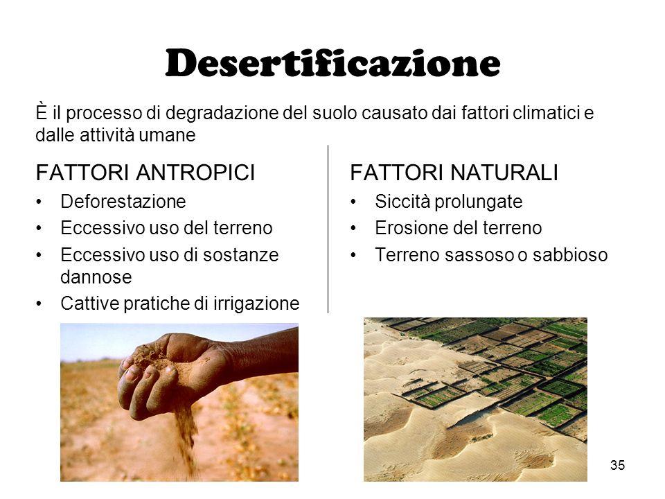 35 Desertificazione FATTORI ANTROPICI Deforestazione Eccessivo uso del terreno Eccessivo uso di sostanze dannose Cattive pratiche di irrigazione FATTO