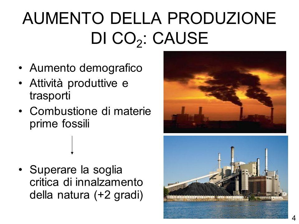AUMENTO DELLA PRODUZIONE DI CO 2 : CAUSE Aumento demografico Attività produttive e trasporti Combustione di materie prime fossili Superare la soglia c