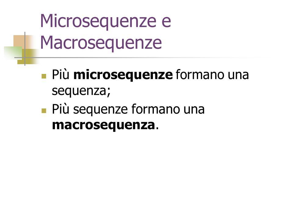 Microsequenze e Macrosequenze Più microsequenze formano una sequenza; Più sequenze formano una macrosequenza.
