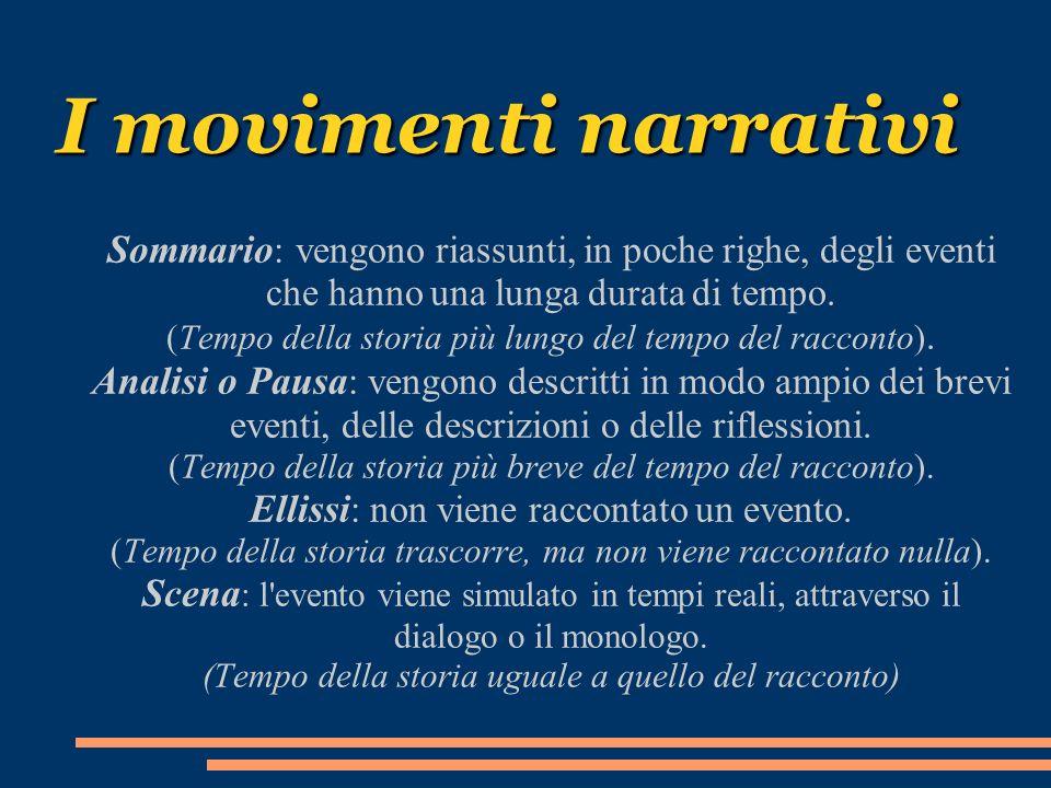 I movimenti narrativi Sommario : vengono riassunti, in poche righe, degli eventi che hanno una lunga durata di tempo. (Tempo della storia più lungo de