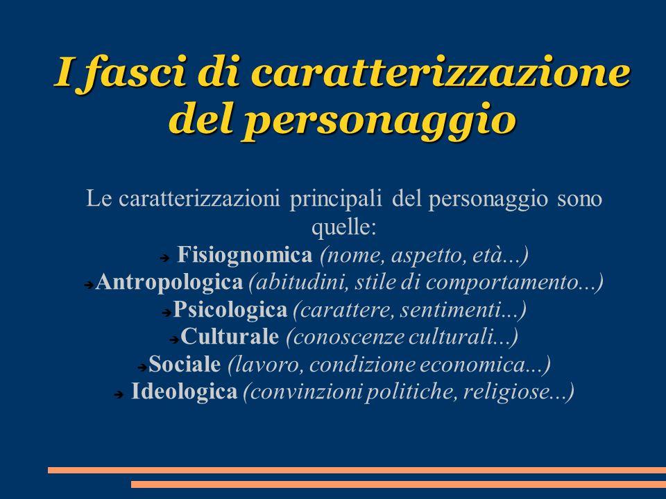 I fasci di caratterizzazione del personaggio Le caratterizzazioni principali del personaggio sono quelle: Fisiognomica (nome, aspetto, età...) Antropo