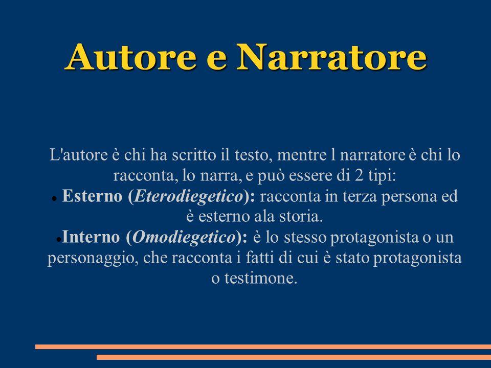 Autore e Narratore L'autore è chi ha scritto il testo, mentre l narratore è chi lo racconta, lo narra, e può essere di 2 tipi: Esterno (Eterodiegetico