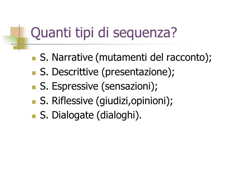 Quanti tipi di sequenza? S. Narrative (mutamenti del racconto); S. Descrittive (presentazione); S. Espressive (sensazioni); S. Riflessive (giudizi,opi