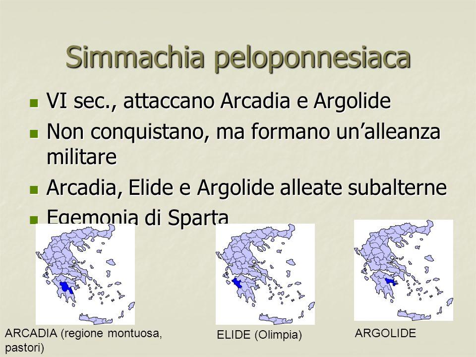 Simmachia peloponnesiaca VI sec., attaccano Arcadia e Argolide VI sec., attaccano Arcadia e Argolide Non conquistano, ma formano unalleanza militare N