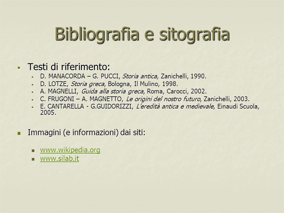 Bibliografia e sitografia Testi di riferimento: Testi di riferimento: D. MANACORDA – G. PUCCI, Storia antica, Zanichelli, 1990. D. MANACORDA – G. PUCC